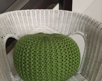 HAND KNITTED small pouffe/floor cushion/footstool