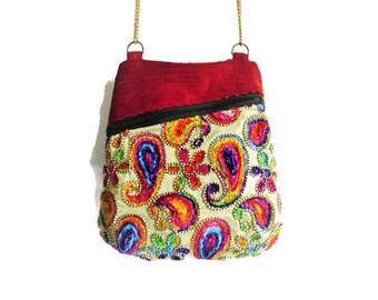 Boho bag, festival bag, sling bag, colorful hippie bag, unique purse, hippie purse, bohemian bag, crossover bag, golden hippie bag, city bag