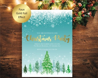 Christmas Party Invitation, Gold Foil Christmas Invitation, Winter Invitation, Printable Christmas Invite, Holiday Party Invitation, PDF