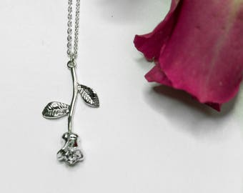 Silver Rose Necklace, Rose Pendant, Necklace For Girlfriend, Flower Jewellery, Rose Jewelry, Flower Necklace