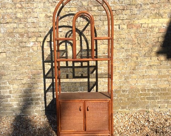 1980s cane bamboo smoked glass display cabinet Art Deco style display cabinet wall unit cane bamboo furniture shelving unit