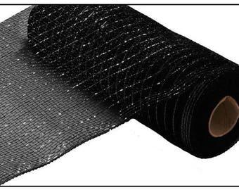10 inch Black Metallic Deco Poly Mesh RE130102, Black Metallic Mesh, Black Foil Deco Mesh, Black Metallic Deco Poly Mesh RE130102
