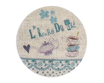 "Fabric button ""tea time"" blue green 32 mm"