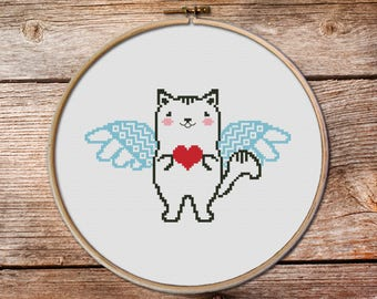 Cat cross stitch pattern, cat with heart cross stitch PDF, kawaii cat, heart cross stitch, angel cross stitch pattern, valentine gifts