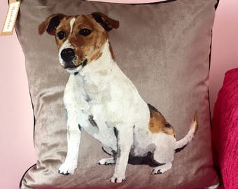 Handmade Jack Russell Terrier Velvet Cushion Cover