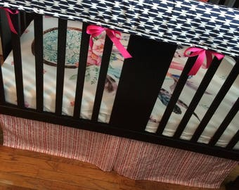 Custom Baby Bedding, Made to order, in pink and mint  with a bohemian feel including dream catchers, arrows and modern prints