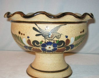 Mexico Bowl with Birds - Handmade Mexican pottery - Mexico Pedestal Fruit Bowl -  Signed Netzi Mexico