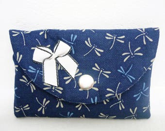Case cards, or blue dragonflies, Japanese fabric wallet beige