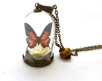Glass pearls spun yellow brown Butterfly Necklace