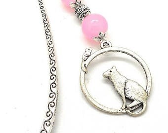 Jewelry, cat bookmark pink beads