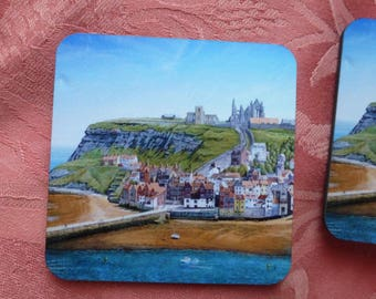 Heat Resistant Coasters of Whitby & Whitby Abbey Yorkshire Coast from original oil painting