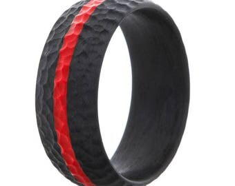 Men's Fearless 100% Carbon Fiber Ring with Thin Red Line