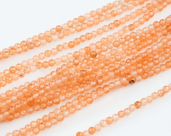 "3mm- JADE Smooth Round- Single or Bulk- 15.5"" Tangerine Orange"