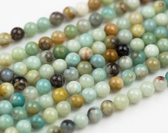 AMAZONITE smooth round sizes- 4mm, 6mm, 8mm, 10mm, 12mm, 14mm-Full Strand 15.5 inch Strand- Wholesale Pricing