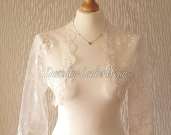 Ivory Embroidered Floral Lace Bolero 3/4 Sleeves / Shrug / Wedding Cropped Jacket / Wrap / Shawl - UK 6-28, US 2-24, EUR 34-56