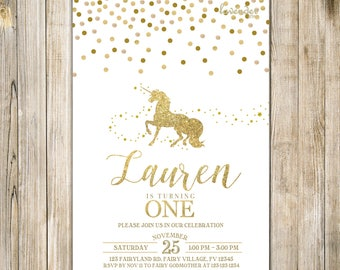 Gold MAGICAL UNICORN BIRTHDAY Invite, White Gold Glitters Unicorn Party Invitation, 1st First Birthday, Mythical Fairytale Girl One Birthday