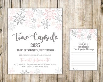 SNOWFLAKES TIME CAPSULE Sign & Cards, 1st Birthday Time Capsule, Winter First Birthday Time Capsule, Girl Baby Shower Wishes, Pink Silver