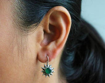 Sterling silver and emerald green antique look earrings