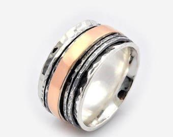 Gold spinner ring, Unisex Spinner Ring, Meditation Ring, Meditation gold Ring, Gold fidget spinner, Silver and Gold Spinning Ring, gift