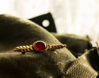 Red and Gold Costume Brooch