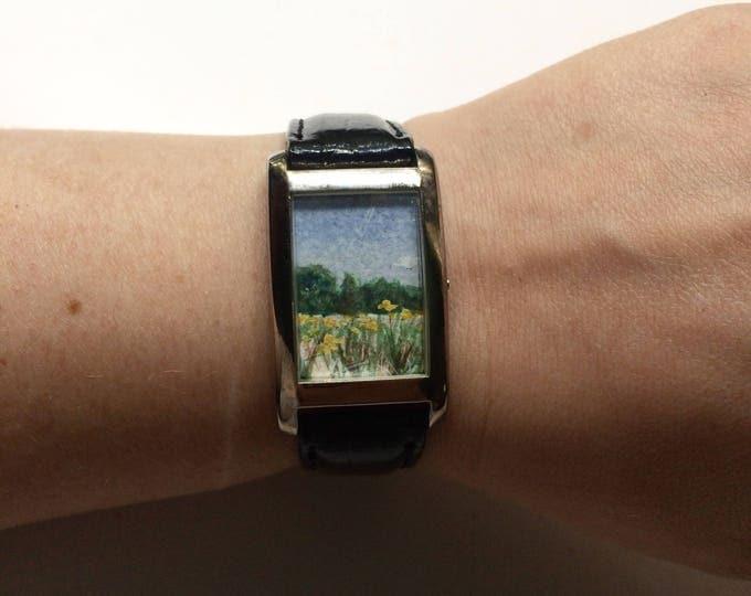 Ekleipein / tiny original painting framed in timeless watch / eclipse art / wildflower painting
