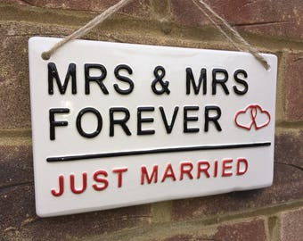 Mrs & Mrs-Wedding Sign-Love-Marriage-Family-Civil partnership-Wedding day-Just Married-Plaque-London street sign-Home-Love Sign-Ceramics