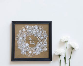 Paper Garland / White Paper Garland / Paper Cut Flowers / Flower Garland / Nursery Wall Art / New Baby Gift / White Garland / Nursery Art