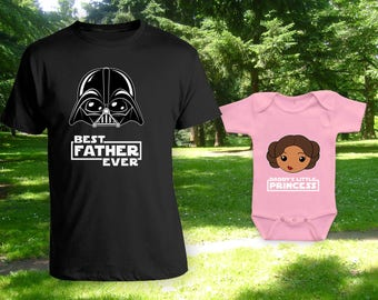 Best Father Ever Daddy's Little Princess Light Brown Skin Tone Cartoon - Christmas Gifts,Fathers Day Gift,Family Shirts,Bodysuit CT-844-1233
