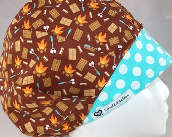 Chocolate & S'mores Surgical Cap Bouffant Scrub Hats for Women medical hats Scrub Tech Hat LoveNStitchies Caps Nurse Camping Marshmallows