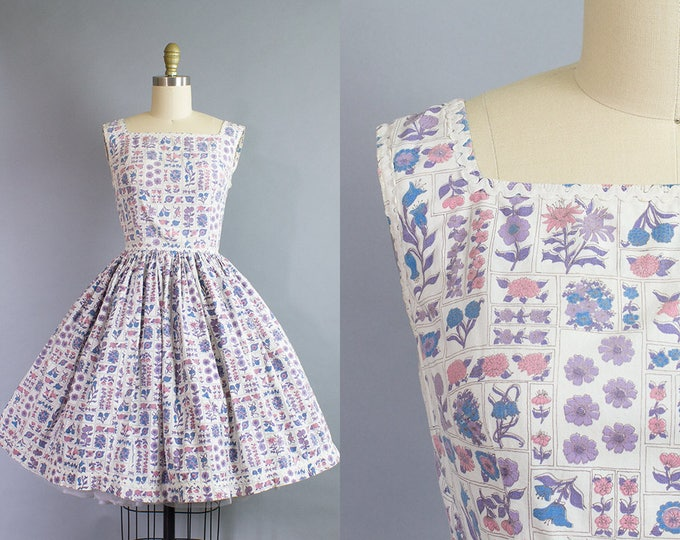 1950s Floral Cotton Dress/ Medium (37B/27W)