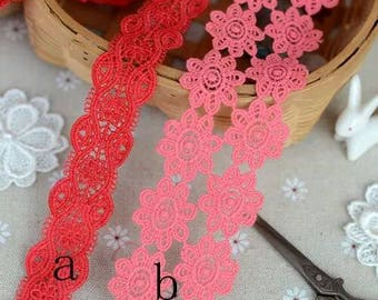 2 Yards Pink Red Lace Trim Piping Polyester Trim 2.5-4cm