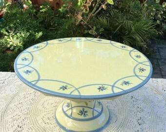 "On SALE 14"" Capriware cake stand, pedestal Cake plate stand, yellow and blue cake stand, blue flowers, wedding centerpiece, bridal shower, b"