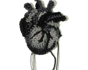 Black crocheted heart - 10 cm