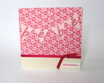 Girl with flowers - pink and beige - birth congratulations card