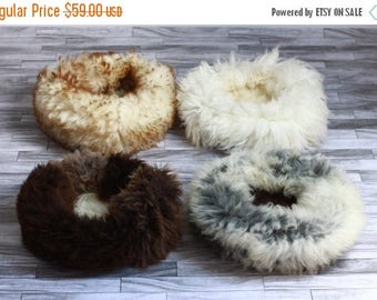 ON SALE Pet Pouf | Real Sheepskin Fur Pet Bed for Cats & Dogs |  Round Pet Bed | Cat Bed | Dog Bed | Shaggy Pet Bed