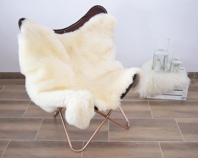 Double Icelandic Sheepskin Rug | Square Sheepskin | Shaggy Rug | Chair Cover | Ivory Rug | Carpet | Ivory Sheepskin