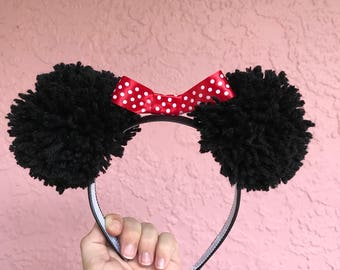 Mouse ear pom pom headband