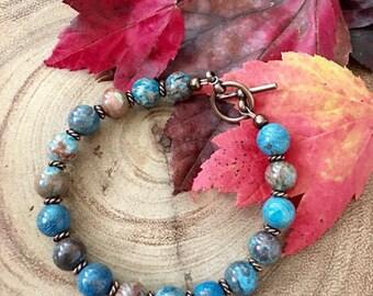Bohemian Blue Sky Jasper Antique Copper Healing Bracelet, Gifts for Her, Wellness Bracelet, Protection Bracelet, Birthday Gift Idea,