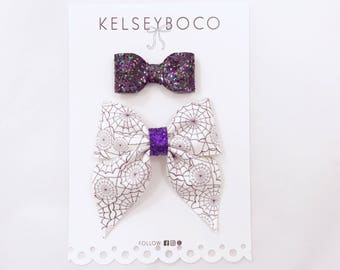 Spider Web Mini Sailor Bow and Bitty Baby Bow Set