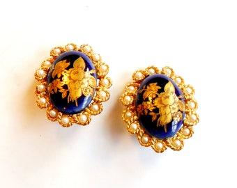 Vintage Limoges Clip On Earrings -  Blue Gold Flower Portrait - Faux Pearls - Gold Tone Metal - Limoges France - Glass Transfer Portrait