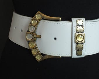 Vintage 80's Glam Metallic Genuine Leather White Crystal Jewel Disco Belt S
