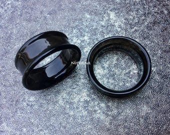 """Black Tunnels Pyrex Glass Gauges 6g 4g 2g 0G 00g 7/16"""" 1/2"""" 9/16"""" 5/8"""" 4 mm 5 mm 6 mm 8 mm 10 mm 12 mm 14 mm and up to 1"""" (25.4 mm)"""