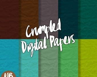 CRUMPLED Digital Paper, Printable pdf, Textured Paper, Teal, Lime, Brown, Blue, Green, Gray, Printable Papers, INSTANT DOWNLOAD