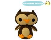 Plush Owl Pattern, Plush Toy, Sewing Pattern, Bird Plush DIY, Owl Toy Pattern, Sewing Tutorial, Bird Toy Sewing, Owl Sewing Pattern, Toy Owl