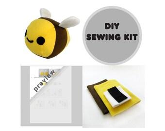 Bumble Bee Sewing Kit, Stuffed Bee Kit, DIY Bumble Bee Toy, Plush Bee Sewing, Bee Kit, Toy Bee DIY, Bee Sewing Kit, Bumble Bee Plush Toy