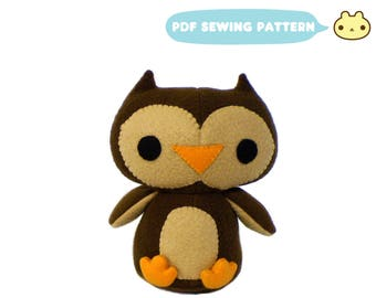 Plush Owl Pattern, Plush Toy, Sewing Pattern, Bird Plush DIY, Owl Toy Pattern, Sewing Tutorial, Bird Toy Sewing, Owl Sewing Pattern, Toy Owl