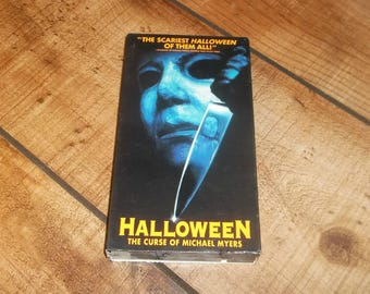 HALLOWEEN Vhs, The Curse of Michael Myers, Horror Movie Video Vintage Halloween Party, Hockey Mask serial killer, Non Rental