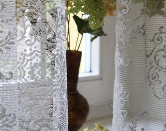 "MYRA' Adorable French Embroidered Light Ivory and Neutral Ivory Continuous W110""  280cm Full Lenght  Lace Net Curtain Sale By the Yard"