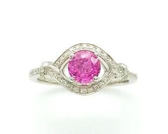 1.42CTTW Ceylon Vivid Pink Sapphire and VS White Diamond Ring