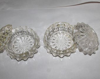 Two Cut Glass or Crystal Dishes with Lids, They Could be Used as Candy Dishes, or For Keys or Jewelry, Very Elegant Dishes, Vanity Decor